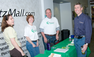 Part of the showcasing crew at the FitzMall event included Susan Susanke (Sustainable Energy Strategies, Inc.), Laurie McKee and Dave Heffernan (Bethesda Green), and Pio Scarano (Washington Gas Energy Services).