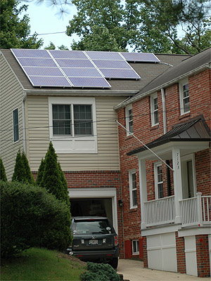 Solar electric panels grace a roof on Lisa Heaton's home in Bethesda.